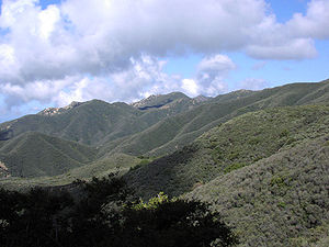 Santa Ynez Mountains - Chaparral-covered south slopes of the Santa Ynez Mountains, near Santa Barbara, California