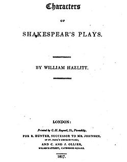 <i>Characters of Shakespears Plays</i> book by William Hazlitt