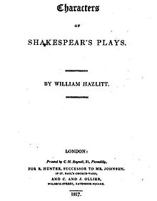 hazlitt essay on shakespeare Characters of shakespeare's plays, by william hazlitt london:  an essay on the principles of human action: being an argu-ment in favour of the natural.