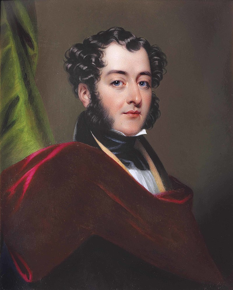 Charles William Bury, 2nd Earl of Charleville (1801-1851) seated in red cloak before a curtain (by Henry Pierce Bone).jpg