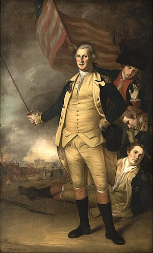 Princeton Historic District (Princeton, New Jersey) - Charles Willson Peale, George Washington at the Battle of Princeton (1784), Princeton University Art Museum, showing Nassau Hall in the background