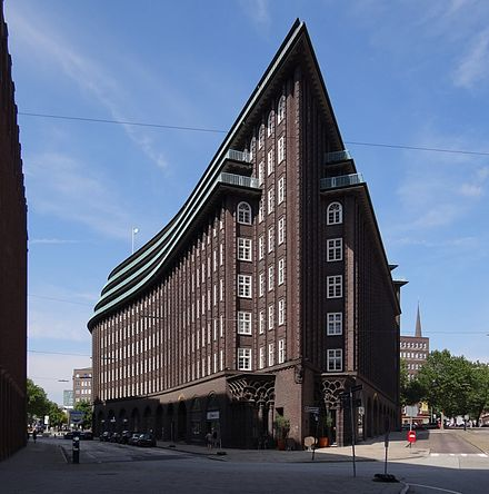 The Chilehaus with a typical brick expressionist facade. Chilehaus - Hamburg.jpg