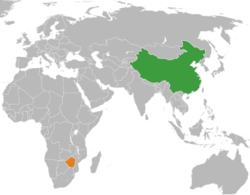 Map indicating locations of China and Zimbabwe