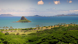 Kualoa Ranch - Mokoliʻi island, also known as Chinaman's Hat, as seen from the Ranch.