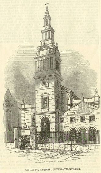 Christ Church Greyfriars - Christ Church as depicted in an 1845 edition of the Illustrated London News.