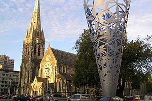 Christchurch Central City - Cathedral Square – the heart of the central city. The Cathedral suffered heavy damage in the 2011 earthquake, with its tower and part of the main building collapsing. It is not yet certain whether it will be reconstructed.