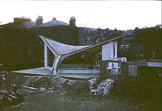 Church Army Chapel, Blackheath - Chapel being built in 1964: south-east elevation, possibly with spire sections piled on the left