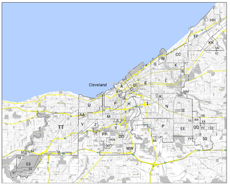 Map of the territorial evolution of Cleveland. Cleveland Annexation Map 4-Color Final.png