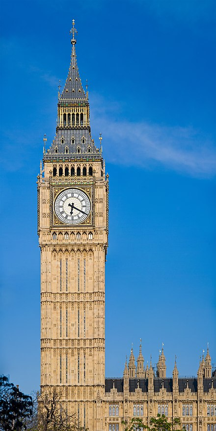 Big Ben is the nickname for the Great Bell of the clock at the north end of the Palace of Westminster and is usually referred to both the clock and the clock tower (Elizabeth Tower) Clock Tower - Palace of Westminster, London - May 2007.jpg