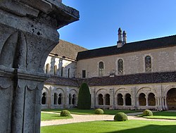 Cloister of Abbaye de Fontenay, in Marmagne, France