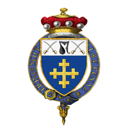 Garter-encircled coat of arms as displayed on his Order of the Garter stall plate in St. George's Chapel, Windsor Castle