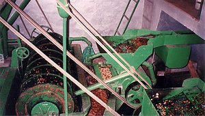 Coffee wastewater - A mechanical separator de-pulps coffee cherries with the aid of water