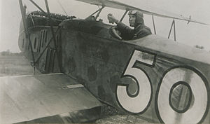 William George Barker - Col Barker, VC, in one of the captured German aeroplanes against which he fought his last air battle (HS85-10-36752) in 1919