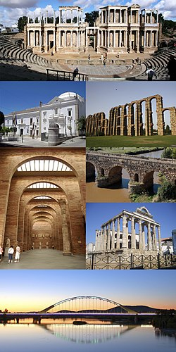 Collage of Mérida, Top:Merida Ancient Roman Theater, Second left:Asanblea de Extremadura (Extremadura Assembly), Second right:Acueducto de Los Milagros (Los Milagros Aqueduct), Third left:A interior of Merida National Roman Art Museum, Third upper right:Merida Roman Bridge, Third lower right:Tempo de Diana (Diana Temple), Bottom:A night view of Lusitania Bridge and Guadiana River