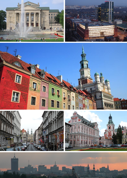 Top: Grand Theatre, Stary Browar and towersUpper Middle: Poznań Town Hall and market placeLower Middle: Długa Street, Jesuit CollegeBottom: Panorama of Poznań at dusk