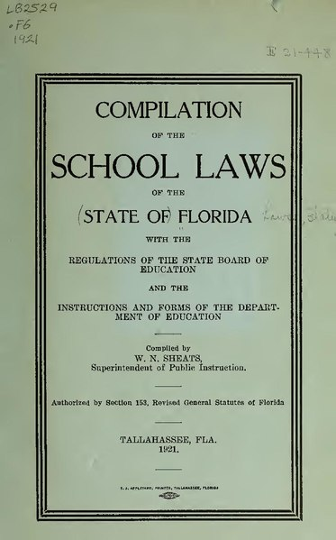 File:Compilation of the school laws of the state of Florida, with the regulations of the state Board of education and the instructions and forms of the Department of education (IA compilationofsch00flor).pdf