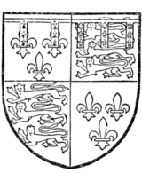 Fig. 727.—John, Duke of Bedford, third son of Henry IV.: France and England quarterly, a label of five points, the two dexter ermine, the three sinister azure, charged with three fleurs-de-lis or. (From MS. Add. 18,850.)