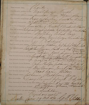 A page from a Victorian Confession Album