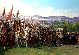 Fall of Constantinople - Modern painting of Mehmed and the Ottoman Army approaching Constantinople with a giant bombard, by Fausto Zonaro