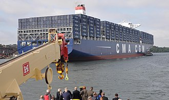 CMA CGM Theodore Roosevelt, the largest container ship to enter the Port of New York and New Jersey as of September 7, 2017 Container Ship CMA CGM Theodore Roosevelt in NY Harbor on Sept 7, 2017 (36415318053).jpg
