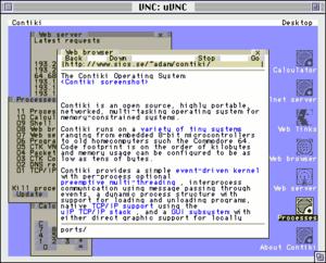 Contiki - Screenshot of the VNC server running on the Atmel AVR port of Contiki
