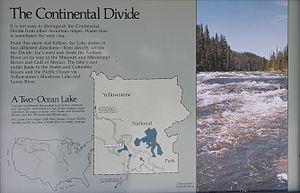 Isa Lake - Map of Continental Divide at Isa Lake
