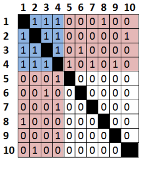 Core-periphery structure - In this idealized matrix, the blue block represents core-core links, the white block represents the absence of periphery-periphery links and the red quadrants represent core-periphery ties.