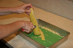 Corn being cut from cob 2