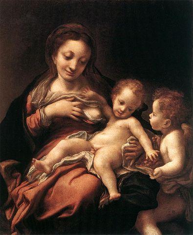 """Correggio (Antonio Allegri) : Toile """"Madonna del latte"""""""