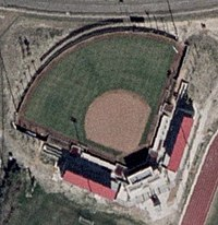 An aerial view of Cougar Softball Stadium