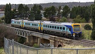 New South Wales Xplorer - An Xplorer crossing the Queanbeyan River near Queanbeyan in January 2012