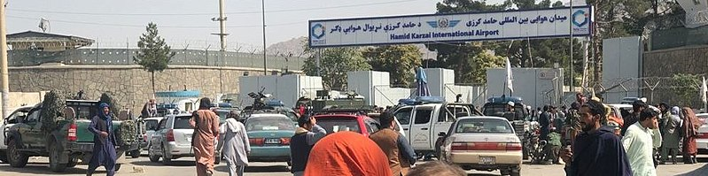 File:Crowds in front of Kabul International Airport (cropped).jpg Description English: On the second day of the Taliban's rule in Kabul, the front of Hamid Karzai International Airport was crowded with people trying to travel abroad, but were stopped by Taliban militants.