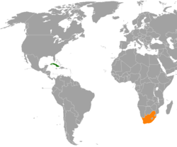 Map indicating locations of Cuba and South Africa
