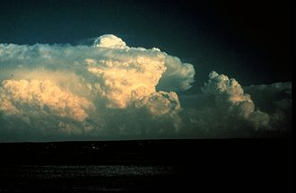 Overshooting top - An overshooting top protruding above the anvil at the top of a thunderstorm