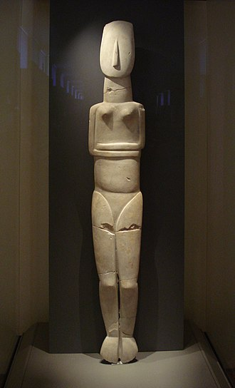 Cycladic culture - Cycladic idol, Parian marble; 1.5 m high (largest known example of Cycladic sculpture. 2800–2300 BC