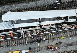 June 2009 Washington Metro train collision - Aerial view of emergency responders at the crash
