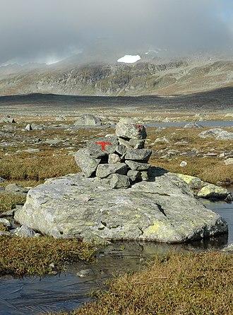 Norwegian Trekking Association - The red T marking the path; hall-mark of the tourist organization