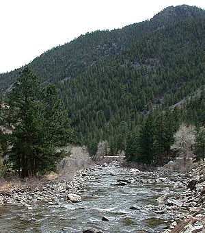 Poudre Canyon - View of the lower Poudre Canyon west of Teds Place and below the Narrows