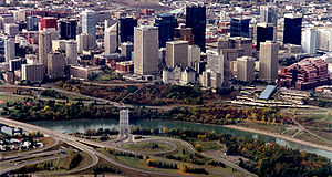 Downtown Edmonton from the air.