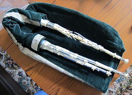 An extended ivory and silver set of smallpipes made by Archie Dagg. DaggPipes.jpg