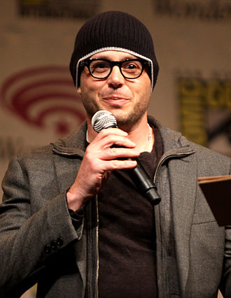 Prometheus (2012 film) - Writer Damon Lindelof promoting Prometheus at WonderCon in 2012. Lindelof was hired to rewrite Jon Spaihts's original script.