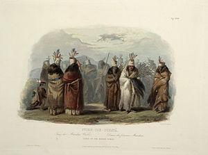 White Buffalo Cow Society - Ptihn-Tak-Ochatä - Dance of the Mandan Women by Karl Bodmer, 1840–1843