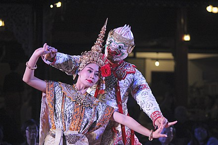 Khon show is the most stylised form of Thai performance. Dance of the Ramayana.jpg