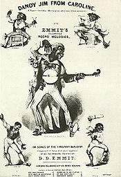 Cinque figure in blackface, che suonano strumenti musicali in modo vivace ed esagerato.