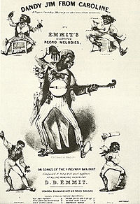 Drawing of man in blackface playing the banjo with exaggerated movements and a wide-eyed expression; a smaller, similar figure is in each corner.