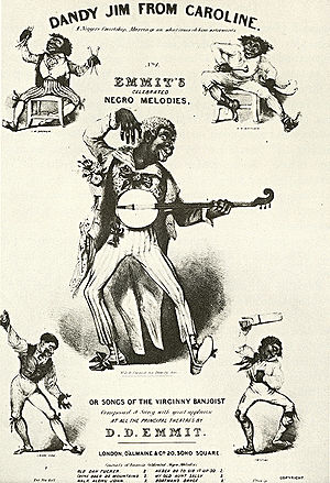 "Minstrel show - Sheet music cover for ""Dandy Jim from Caroline"", featuring Dan Emmett (center) and the other Virginia Minstrels, c. 1844"
