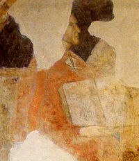 Dante's more ancient documented portrait, fresco in Palazzo dei Giudici, Florence (an older protrait, very similar to these is in the chapel of the Bargello palace in Florence).