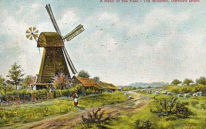 Dartford Brent - Brent Mill, Dartford. Painting reproduced as a postcard. Mill demolished 1901