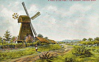 Dartford Brent - Brent Mill, Dartford. Painting reproduced as a postcard. Mill demolished 1901
