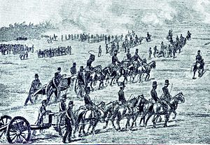 Dutch intervention in northern Bali (1848) - Dutch artillery moving towards Jagaraga.